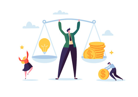 Business Idea and Money Concept. Businessman Holding Weights with Light Bulb and Golden Coins. Investment Management with Characters. Vector illustration Standard-Bild - 123178640