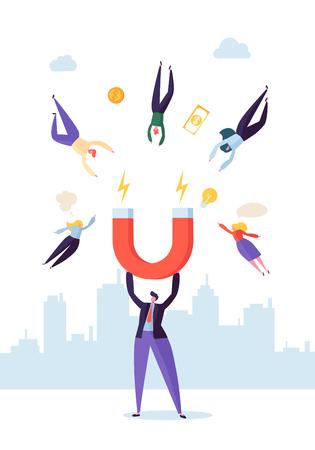 Carattere dell'uomo d'affari con il grande magnete che attrae nuovi clienti, soldi e idee. Concetto di marketing aziendale. Illustrazione vettoriale Vettoriali