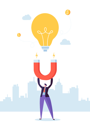 Businessman Character with Big Magnet Attracting New Idea Light Bulb. Business Innovation Concept. Vector illustration Ilustrace