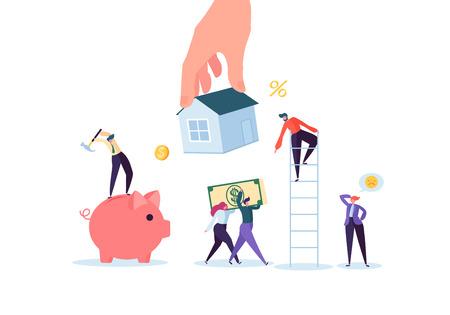 Charaktere, die für Mortrage House bezahlen. Immobilieninvestition. Miet- oder Leihhauskonzept. Kreditverschuldung, finanzielles Problem. Vektorillustration Vektorgrafik