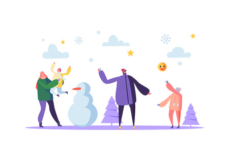 Happy Family Characters Playing Snowball on Winter Holidays. Cheerful Mother and Father Throwing Snowballs and Making Snowman. Vector illustration Zdjęcie Seryjne - 123178647