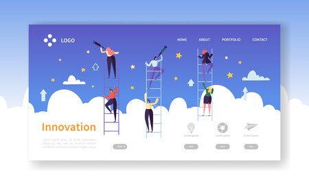 Business Innovation Landing Page. Business Vision Concept with Flat Characters in Search of Creative Idea. Website Template Easy Edit and Customize. Vector illustration