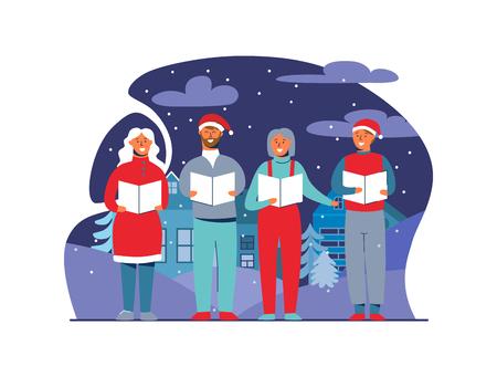 Gente allegra in cappelli di Babbo Natale che canta i canti natalizi. Caratteri di vacanze invernali su sfondo innevato. Cantanti di Natale. Illustrazione vettoriale Vettoriali