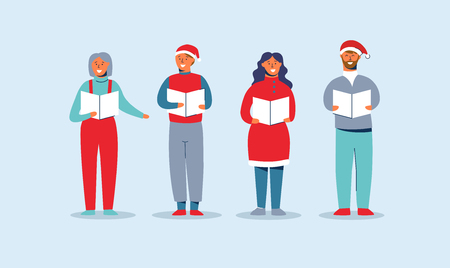 Happy People in Santa Hats Singing Christmas Carols. Winter Holidays Characters. Xmas Singers Caroling Choir Man and Woman. Vector illustration Illustration