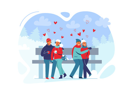 Young Couple in Love in Winter Clothes on Snowy Landscape. Happy Man and Woman Together in Park with Christmas Trees. Vector illustration Banque d'images - 123178668