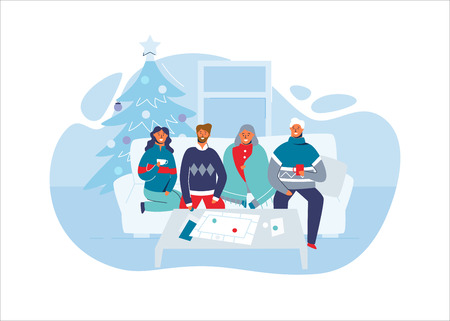 Happy Friends Celebrating Christmas Together at Home. Characters on Winter Holidays with Christmas Tree. Two Couples on New Year. Vector illustration Illustration