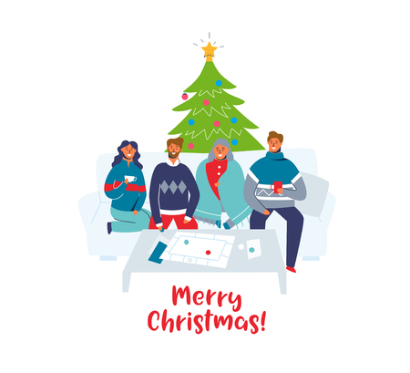 Happy Friends Celebrating Christmas Together at Home. Characters on Winter Holidays with Christmas Tree. Two Couples on New Year. Vector illustration Stock Illustratie