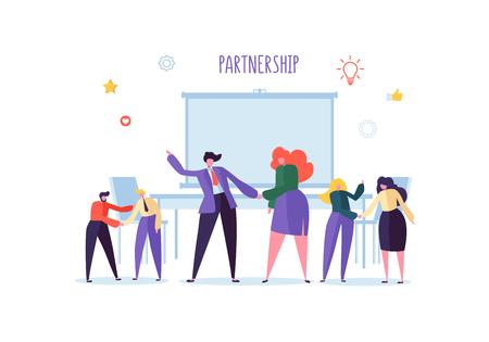 Geschäftsleute, die Hände rütteln. Partnerschaftsvertrag Handshake, Vereinbarungskonzept treffen. Charaktere über erfolgreiche Verhandlungen. Vektor-Illustration Vektorgrafik