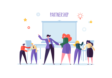 Business People Shaking Hands. Partnership Deal Handshake, Meeting Agreement Concept. Characters on Successful Negotiations. Vector illustration