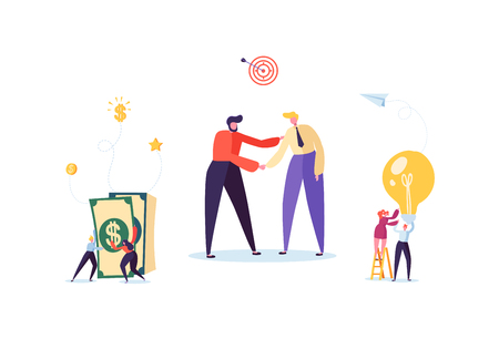 Businessmen Shaking Hands. Partnership Deal Handshake, Meeting Agreement Concept. Characters on Successful Negotiations. Vector illustration Illustration