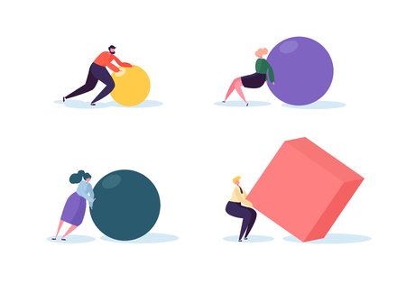 Business Competition Concept. People Characters Move Geometric Shapes. Team Work Leadership and Strategy. Competitive Race with Businessmen. Vector illustration Illustration