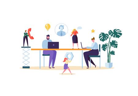 Supporto tecnico e concetto di servizio di assistenza clienti. Personaggi dell'assistente online che lavorano con laptop e cuffie. Illustrazione vettoriale