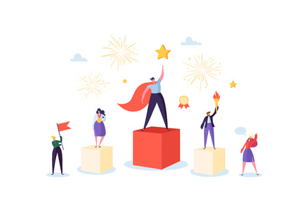 Successful Business Team on Podium. Teamwork Leadership Concept. Manager with Winning Trophy. Leader Man and Woman Celebrating Victory. Vector illustration