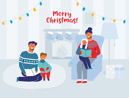 Parents Reading Books with Children on Christmas Eve at Home. Winter Holidays Happy Characters near Fireplace. Father Read Book for Son. Vector illustration