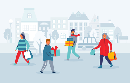 Happy Characters Shopping on Winter Holidays. People with Christmas Gifts on City Street. Woman and Man with Shopping Bags on New Year. Vector illustration Vectores