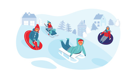Girls and Boys Sledding. Children Characters Having Fun on Winter Holidays. Happy People Playing Outdoors in the Snow. Vector illustration