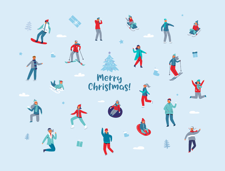 Winter Holidays Characters. Happy People in Different Winter Activities Skiing, Snowboarding, Ice Skating. Man and Woman in Warm Clothes Sport Activity. Vector illustration Illustration