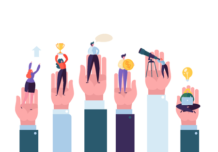 Business People in the Big Hands Reaching the Goal. Helping Hand Assistance and Support Concept. Successful Business Characters. Vector illustration