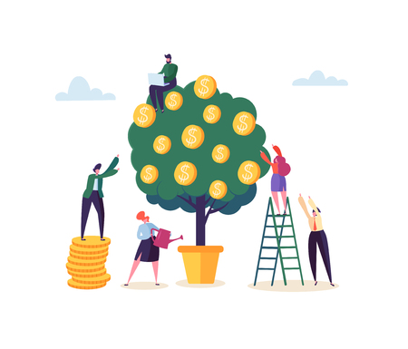 Business Woman Watering a Money Plant. Characters Collecting Golden Coins from Money Tree. Financial Pofit, Investment, Banking, Income Concept. Vector illustration