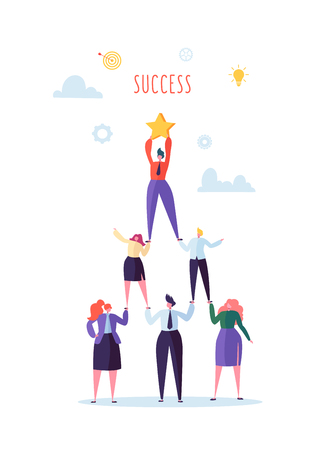 Successful Team Work Concept. Pyramid of Business People. Leader Holding Star on the Top. Leadership, Teamworking and Goal Achievement. Vector illustration