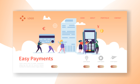 Online-Kartenzahlung Konzept Landing Page. Einfache Zahlungen Banner mit flachen People Characters Website-Vorlage. Einfaches Bearbeiten und Anpassen. Vektor-Illustration
