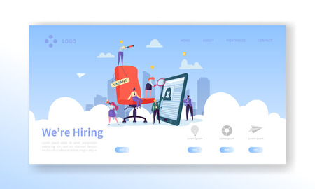 Recruitment, Job Interview Concept Landing Page. Vacancy Flat People Characters HR Managers Website Template. Easy Edit and Customize. Vector illustration Çizim