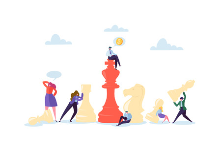 Characters Playing Chess. Business Planning and Strategy Concept. Businessman and Businesswoman with Chess Pieces. Competition and Leadership. Vector illustration