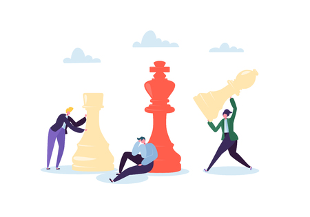 Characters Playing Chess. Business Planning and Strategy Concept. Businessman with Chess Pieces. Competition and Leadership. Vector illustration