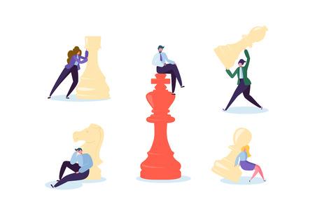 Personnages jouant aux échecs. Concept de planification et de stratégie d'entreprise. Homme d'affaires et femme d'affaires avec des pièces d'échecs. Concurrence et leadership. Illustration vectorielle Vecteurs
