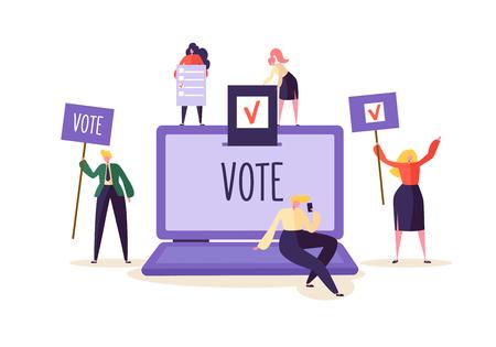 Koncepcja e-głosowania z postaciami głosującymi za pomocą laptopa za pośrednictwem elektronicznego systemu internetowego. Mężczyzna i kobieta oddają głos do urny wyborczej. Ilustracja wektorowa