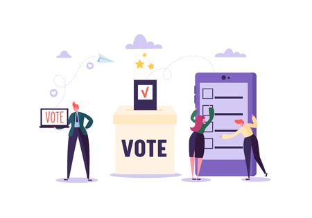 Concept de vote électronique avec des personnages votant à l'aide d'un ordinateur portable et d'une tablette via un système Internet électronique. L'homme et la femme votent dans l'urne. Illustration vectorielle Vecteurs