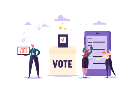 E-voting Concept with Characters Voting Using Laptop and Tablet via Electronic Internet System. Man and Woman Give Vote into the Ballot Box. Vector illustration Vector Illustration
