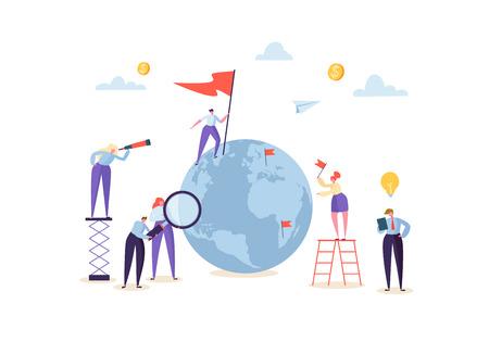 Concetto di affari globali con personaggi che lavorano insieme al globo. Persone che comunicano nel processo lavorativo. Lavoro di squadra creativo Cooperazione in tutto il mondo. Illustrazione vettoriale Vettoriali