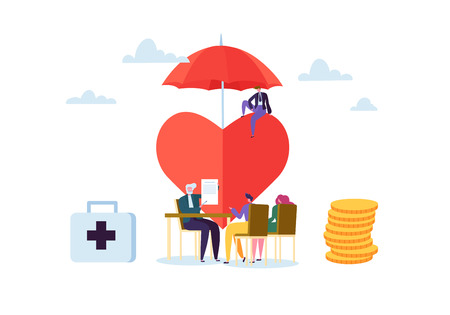 Health Insurance Concept with Characters. Medicine and Healthcare Agent Signing Contract with Clients. Medical Service. Vector illustration Иллюстрация