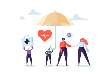 Health Insurance Concept with Characters and Umbrella. Medicine and Healthcare Agent Proposing a Medical Service Contract to the Clients. Vector illustration Stockfoto - 112489593