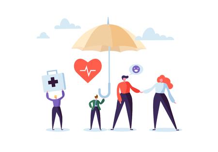 Krankenversicherungskonzept mit Charakteren und Regenschirm. Medizin- und Gesundheitsagent, der den Kunden einen Vertrag über medizinische Leistungen vorschlägt. Vektor-Illustration Vektorgrafik