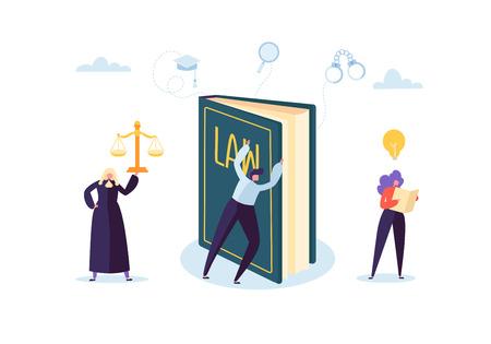 Wet en Rechtvaardigheid Concept met karakters en juridische elementen, wetboek, advocaat. Oordeel en rechtbank Jury Mensen. vector illustratie
