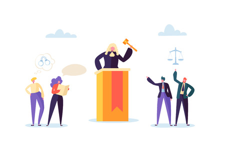 Law and Justice Concept with Characters and Judical Elements, Lawbook, Lawyer. Judg with Gavel in Courtroom and Court Jury People. Vector illustration