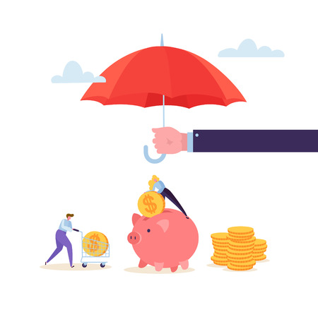 Insurance Agent Holding Umbrella Over Money. Financial Protection Concept with Character Woman Collecting Golden Coins in Piggy Bank. Safety Investment. Vector illustration Illustration