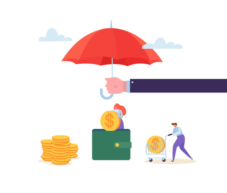 Insurance Agent Holding Umbrella Over Money Savings. Financial Protection Concept with Characters Collecting Golden Coins into the Wallet. Safety Investment. Vector illustration Foto de archivo - 123178746