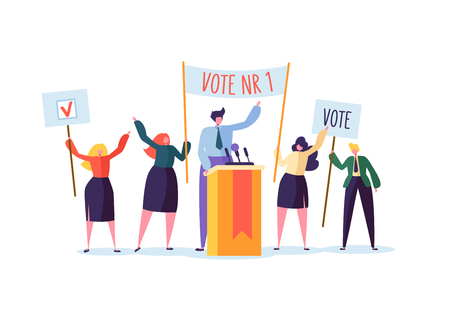 Politisches Treffen mit Kandidaten in Rede. Wahlkampfabstimmung mit Charakteren, die Abstimmungsbanner halten. Wähler von Mann und Frau. Vektor-Illustration