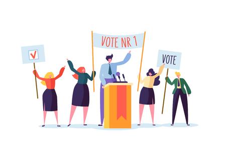 Réunion politique avec le candidat en discours. Vote de campagne électorale avec des personnages tenant des bannières de vote. Électeurs hommes et femmes. Illustration vectorielle