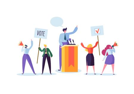 Incontro politico con il candidato nel discorso. Voto della campagna elettorale con personaggi che tengono striscioni e cartelli di voto. Uomo e donna elettori con megafono. Illustrazione vettoriale