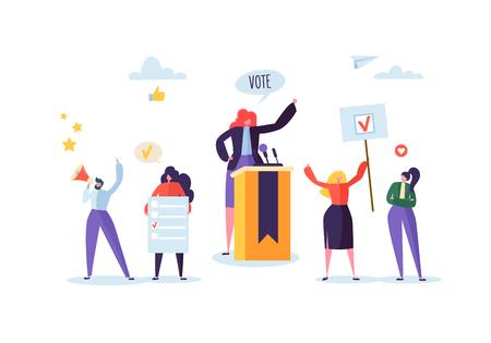 Politisches Treffen mit einer Kandidatin in der Rede. Wahlkampfabstimmung mit Charakteren, die Abstimmungsbanner und -zeichen halten. Mann- und Frauenwähler mit Megaphon. Vektor-Illustration