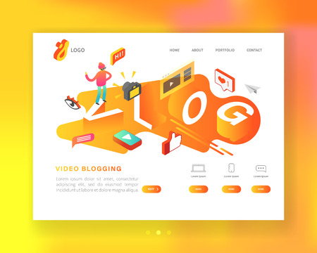 Creative Social Media Isometric Concept Landing page template. Video Blogging Content Marketing with Man Vlogger Recording Video. Vector illustration Ilustração