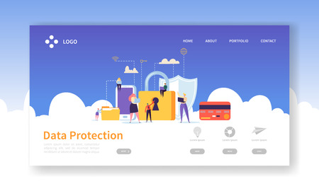 Network Security Landing Page. Data Protection Banner with Flat People Characters and Digital Data Secure Website Template. Easy Edit and Customize. Vector illustration Ilustrace