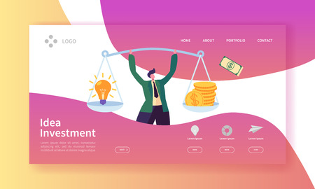 Innovation Investment Landing Page. Invest in Idea Banner with Flat Man Character and Weights with Money and Light Bulb Website Template. Easy Edit and Customize. Vector illustration