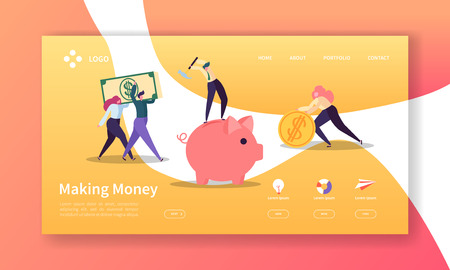 Making Money Landing Page. Business Investment Banner with Flat People Characters Saving Money Website Template. Easy Edit and Customize. Vector illustration
