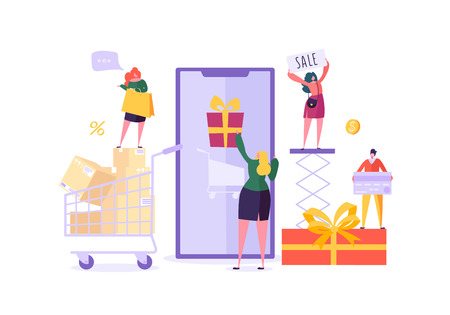 Woman Shop Online Using Smartphone. E-commerce, Consumerism, Retail, Sale Concept. Characters Shopping Mobile Purchase. Vector illustration Illustration