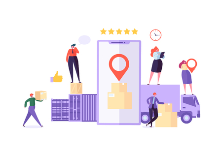 Online Cargo Delivery Mobile App Tracking Service. Worldwide Logistic Delivery Concept with Courier Characters. Workers in Uniform with Parcels. Vector illustration Illustration